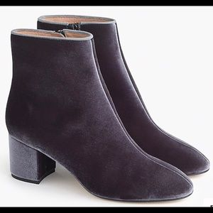 J Crew Hadley Velvet Ankle Boot